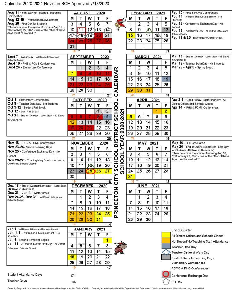 Scarlet & Gray Calendar for First Quarter