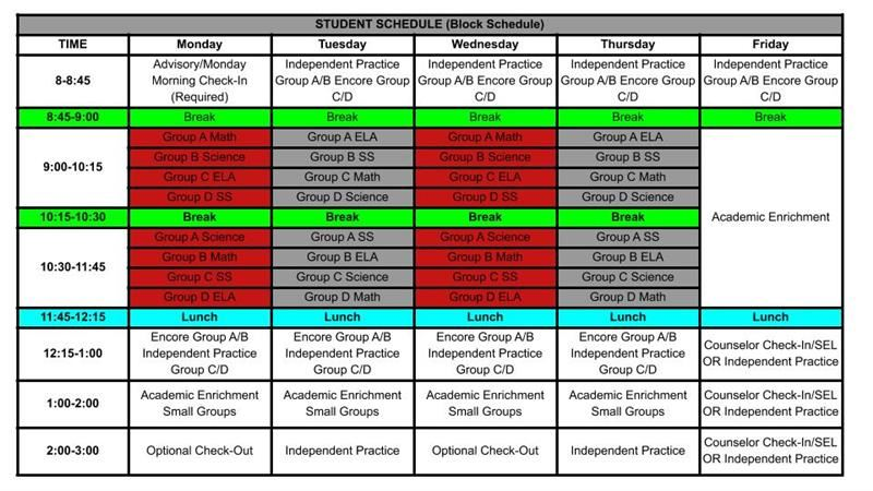 PCMS Remote Students/Staff Schedule