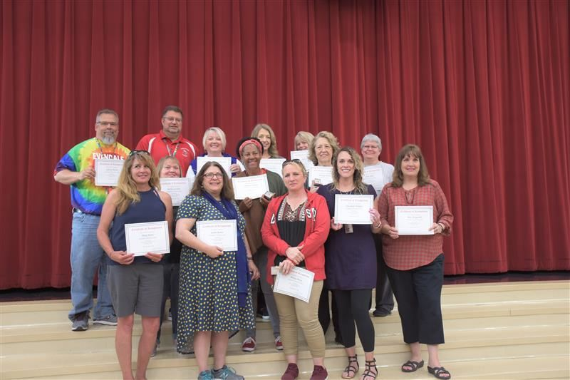14 staff members were recognized for milestone years of service
