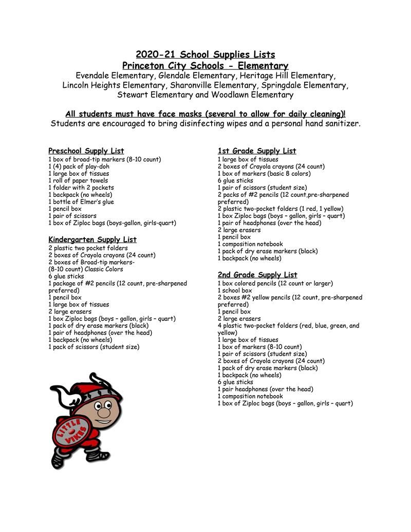 Elementary Preschool to 2nd Grade Supply List