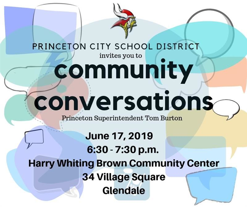 Graphic flyer for the community conversation with Tom Burton on June 17 at 6:30