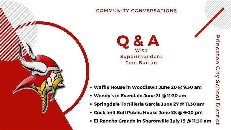Graphic flyer for Q & A Sessions with Superintendent, Tom Burton.