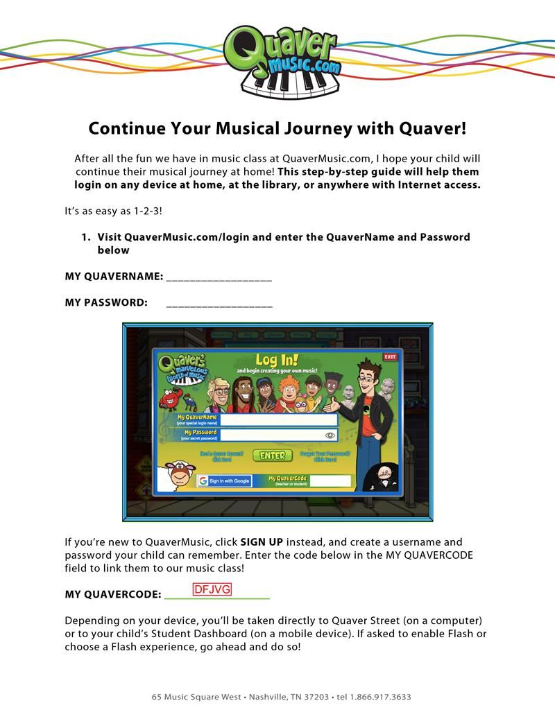 Quaver log in guide page 1