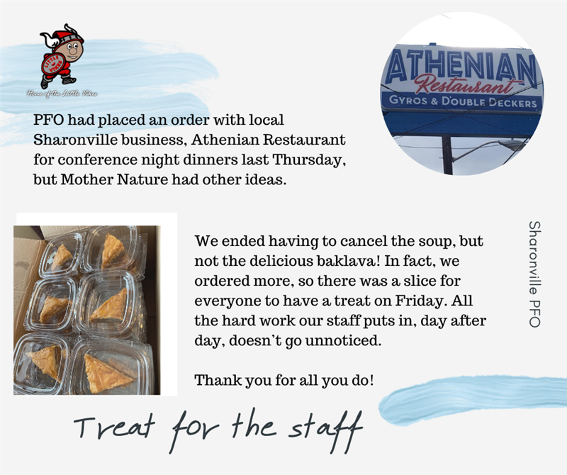 PFO treat for the SH staff members thanks to Athenian Resturant