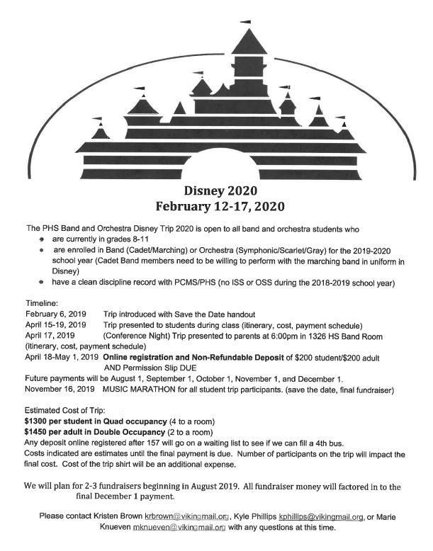 PHS Band and Orchestra Disney Trip information flyer for February 12 - 17, 2020