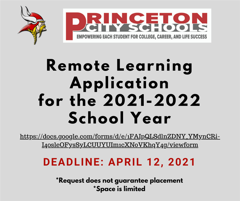 Remote Learning Application for 2021-2022 School Year