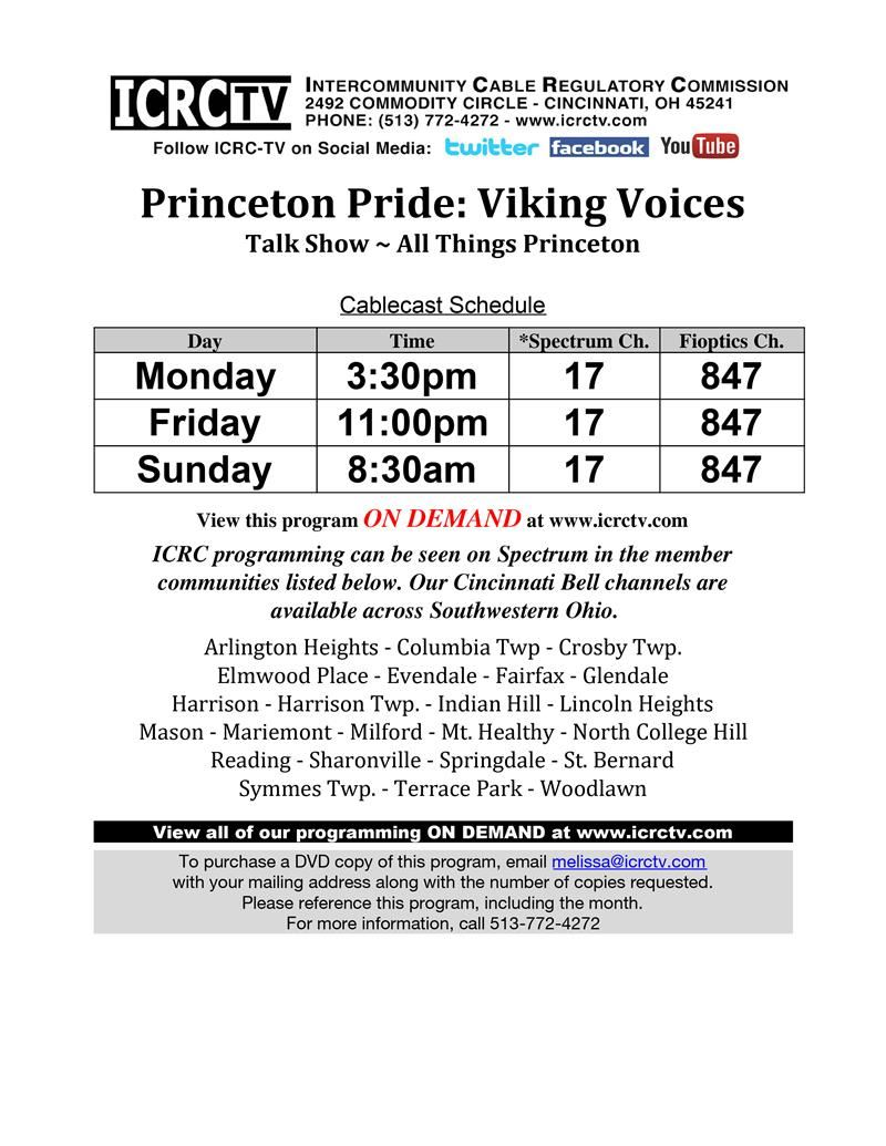 Princeton Pride Viking Voices playback Schedule