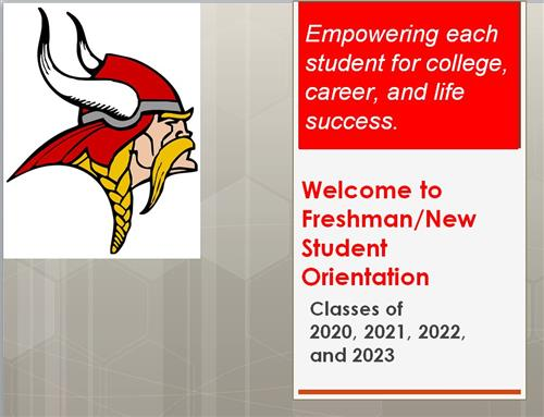 Freshman/New Student orientation slide