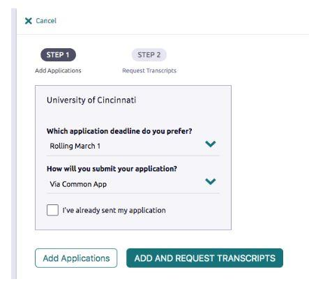 screen shot of matching application and transcript request screen
