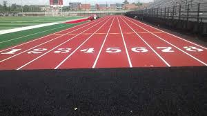 view of track lanes at the stadium