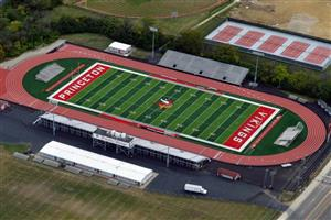 aerial view of viking stadium outdoor track