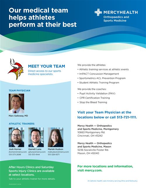 Orthopaedics and Sports Medicine Team  informational flyer