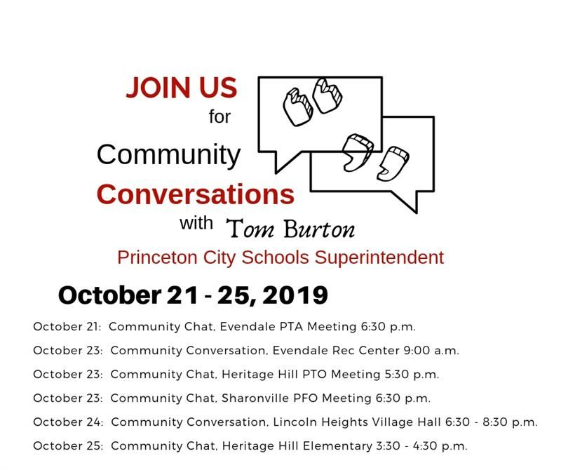 Graphic for Community Conversations October 21 - 25