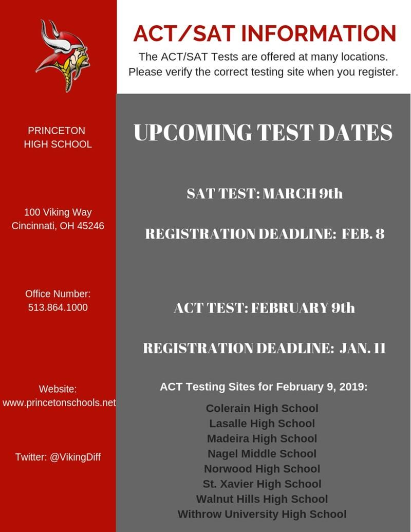 ACT/SAT Upcoming Testing Opportunities