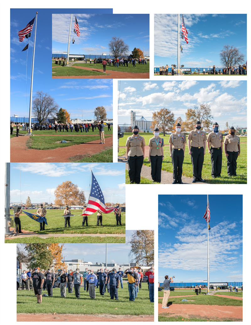 Photos from flag raising Veterans Day Color Guard at the SH Ford Plant