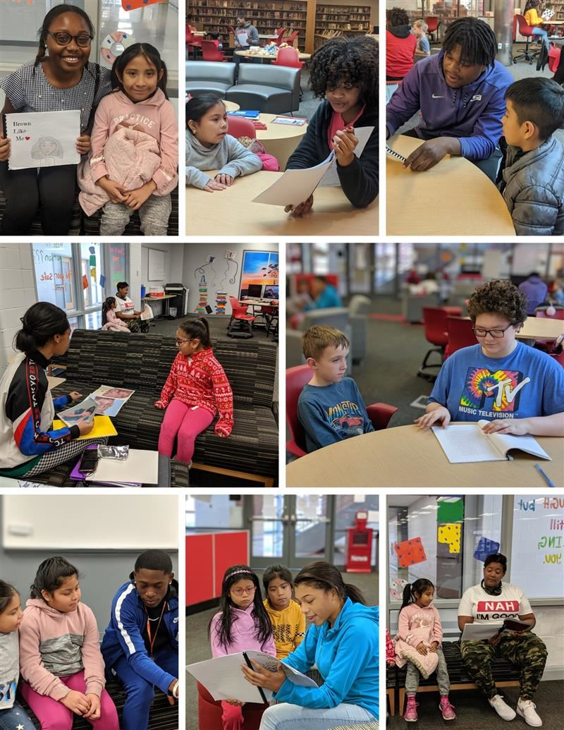 photos of PHS students reading with HH students