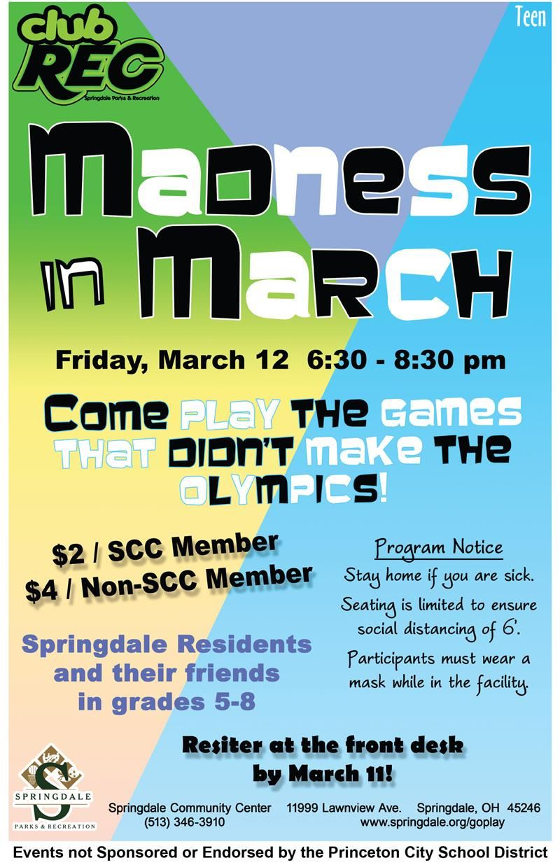 Madness in March flyer
