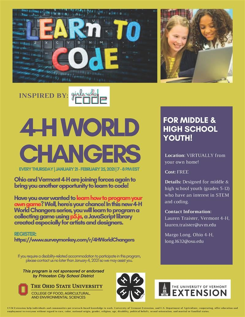 Informational Flyer for Learn to Code 4-H Program