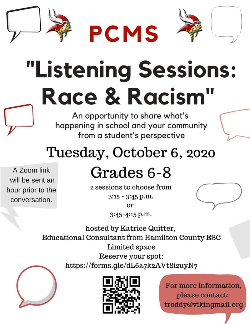 Flyer for PCMS Listening Sessions: Race & Racism