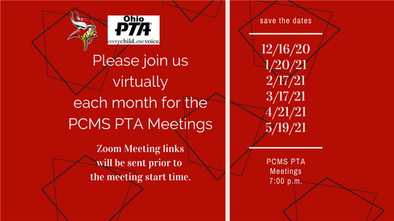 Meeting Dates for PCMS PTA