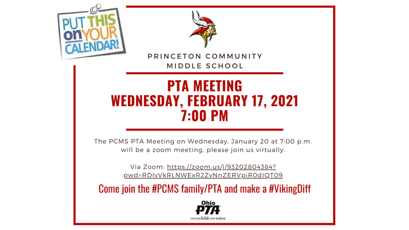 PCMS PTA Meeting Wednesday February 17