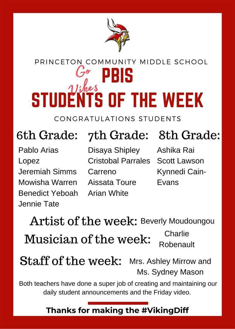 PCMS Students of the week 9 11