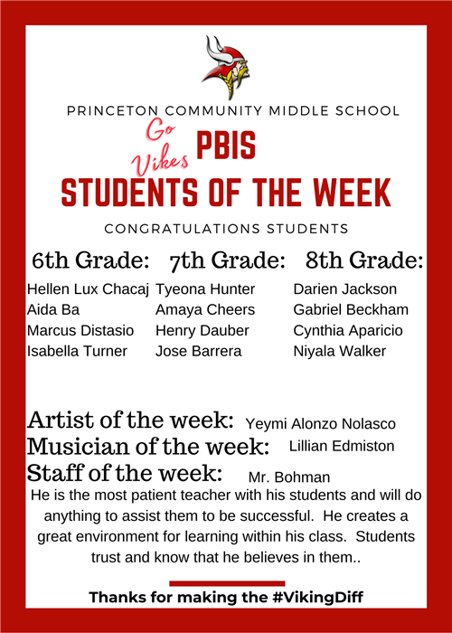 PCMS Student of the Week