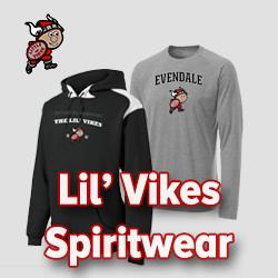 image of sweatshirt and long sleeve tee shirt with writing that says Lil' Vikes Spirtwear